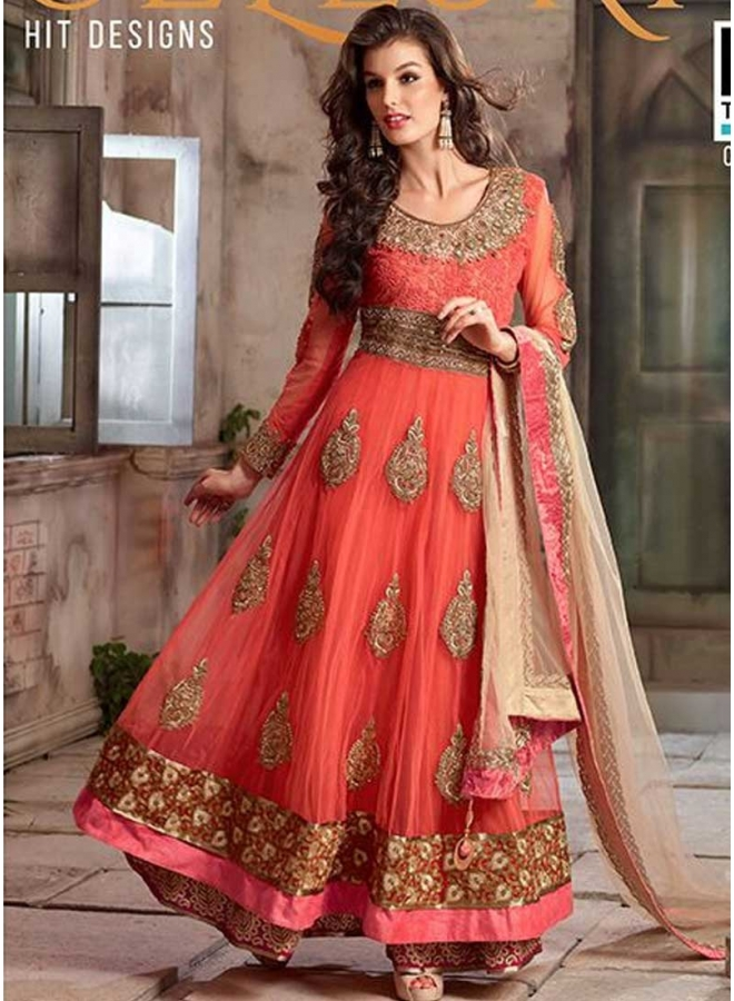 Orange Patch Border Embroidery Sequins Work Party Wear Anarkali Salwar Kameez