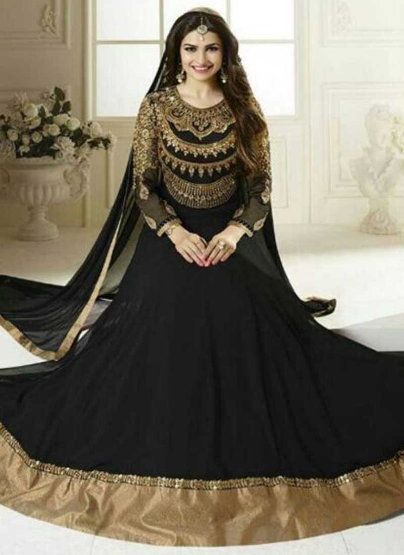 93d3e28402 Prachi Desai Black Embroidered Sequins Stone Work Georgette Anarkali Salwar  Kameez