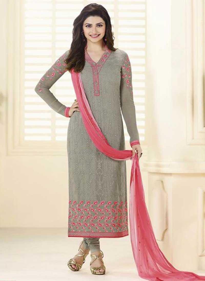 ffab2555b5 Prachi Desai Grey Thread Resham Work Stone Work Bollywood Churidar Salwar  Kameez