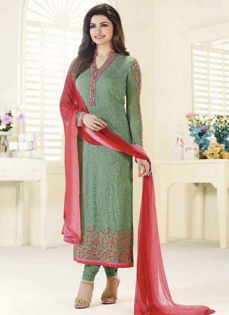 c9cd858993 Prachi Desai Sea Green Embroidery Thread Resham Work Designer Churidar  Salwar Suit