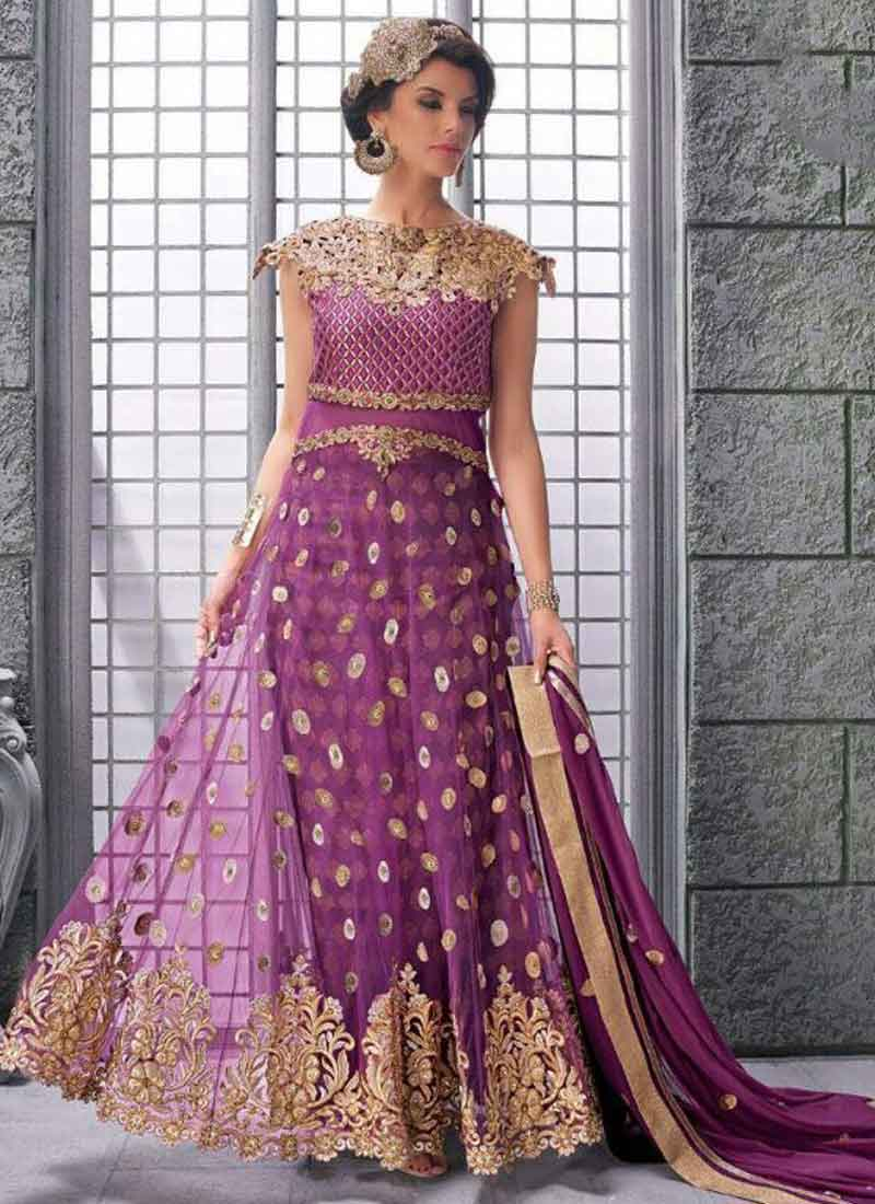 Purple Embroidery Sequins Booti Stone Work Net Party Wear Anarkali ...