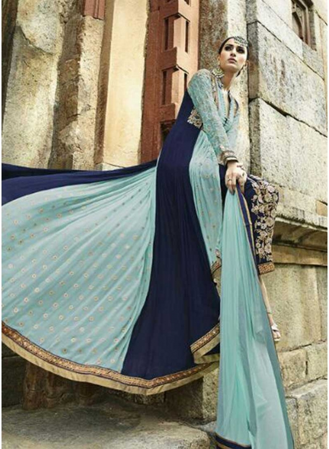 Sky Blue Lace Border Booti Work Georgette Party Wear Long Anarkali Salwar Suit