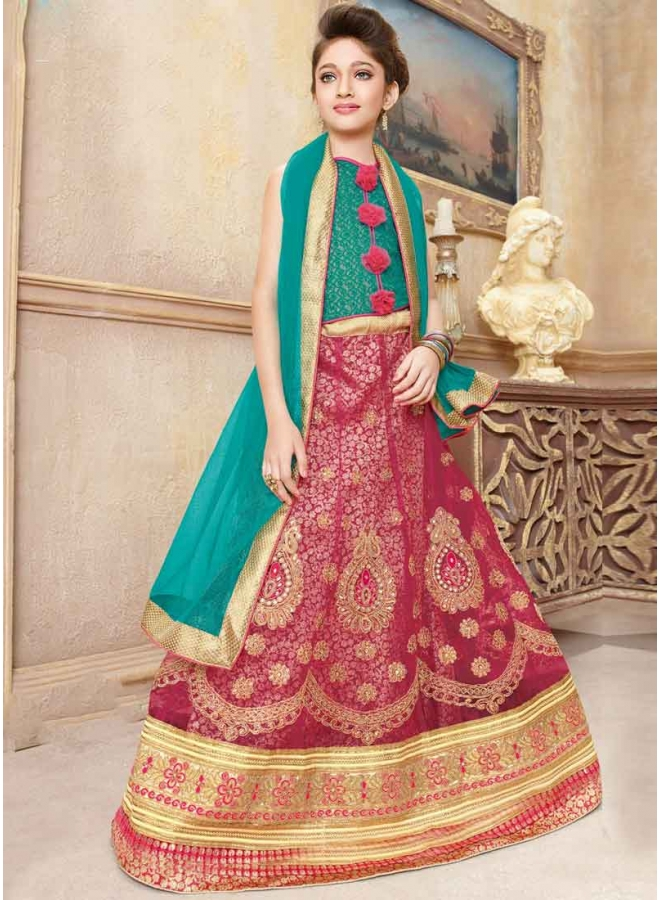 Maroon Embroidery Stone Work Lace Border Net Children  Lehenga Choli