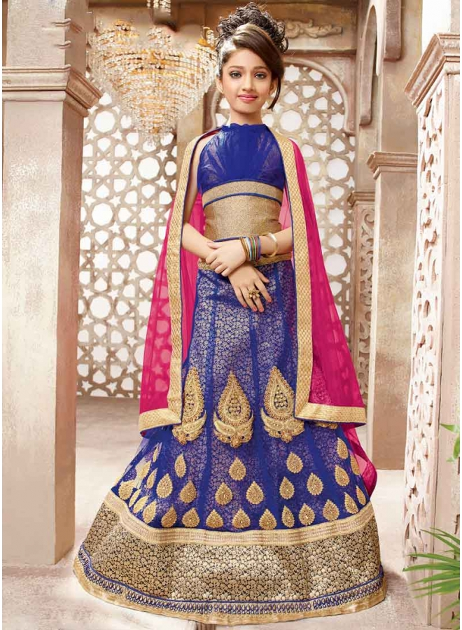 c9e97a9287 Navy Blue Pink Embroidery Lace Border Work Brocade Wedding Children Lehenga  Choli