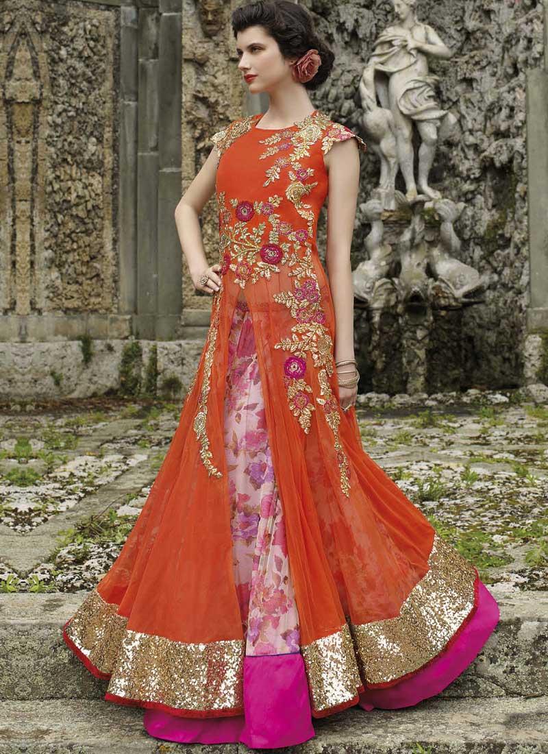 Dresses sarees suits lengha anarkali lehenga pink anarkali lehenga - Orange Pink Embroidery Work Net Printed Long Anarkali Bridal Lehenga Choli