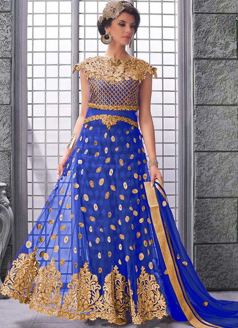 1fa95cfed1 Royal Blue Embroidery Cut Work Net Jacquard Long Choli Wedding Lehenga Choli