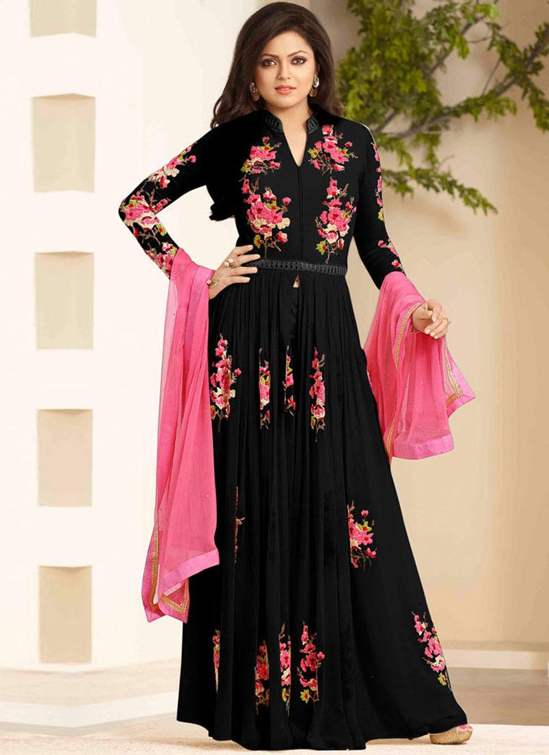 7c6f54c606 Drashti Dhami Embroidery Resham Work Black Georgette Long Anarkali Salwar  Kameez
