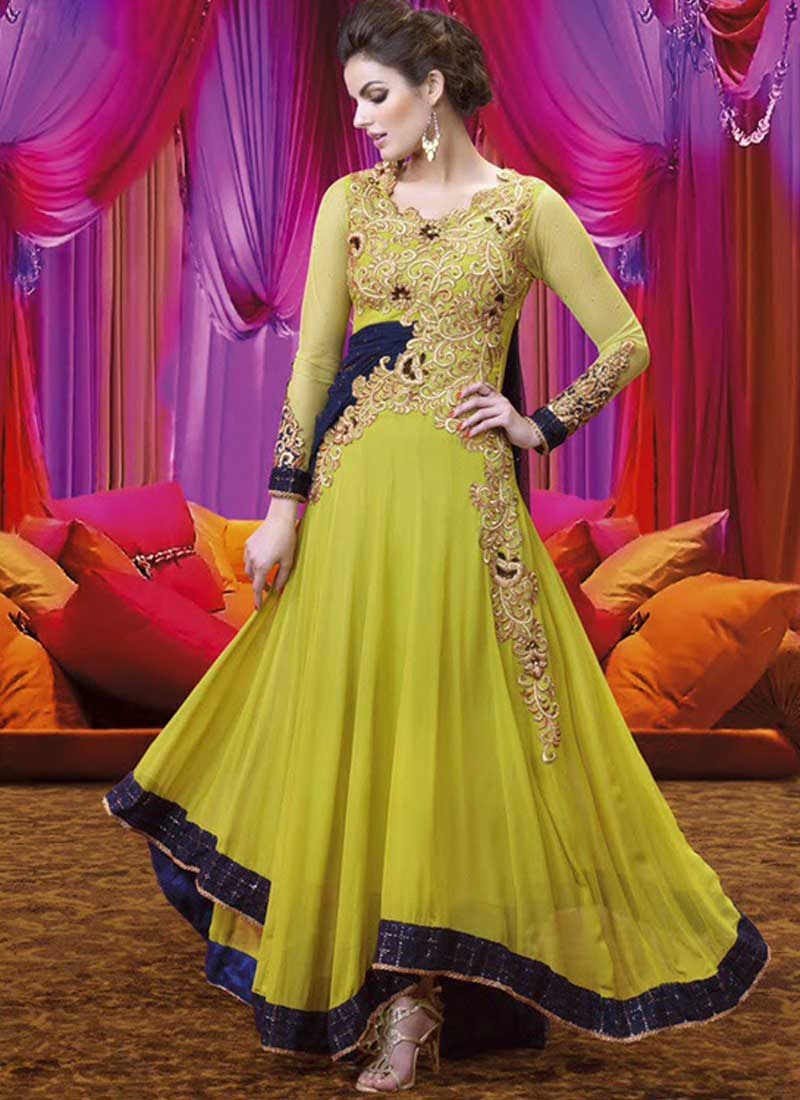 fa4b488bab Light Mehandi Green Embroidery Cut Work Georgette Long Anarkali Gown Suit