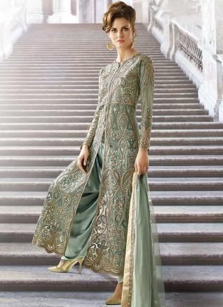 a2eb6d30c7 Sea Green Embroidery Work Net Japan Crepe Santoon Wedding Designer Patiala  Suit
