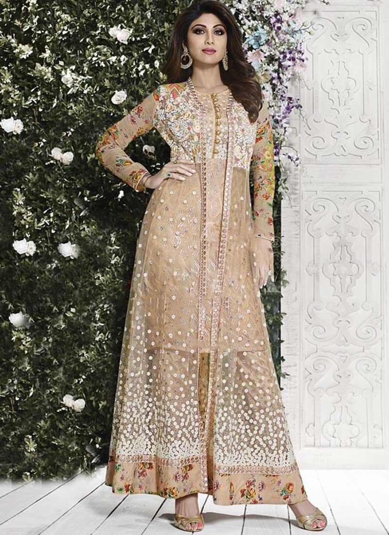 Shilpa Shetty Beige Embroidery Work Jacket Style Net Anarkali Salwar