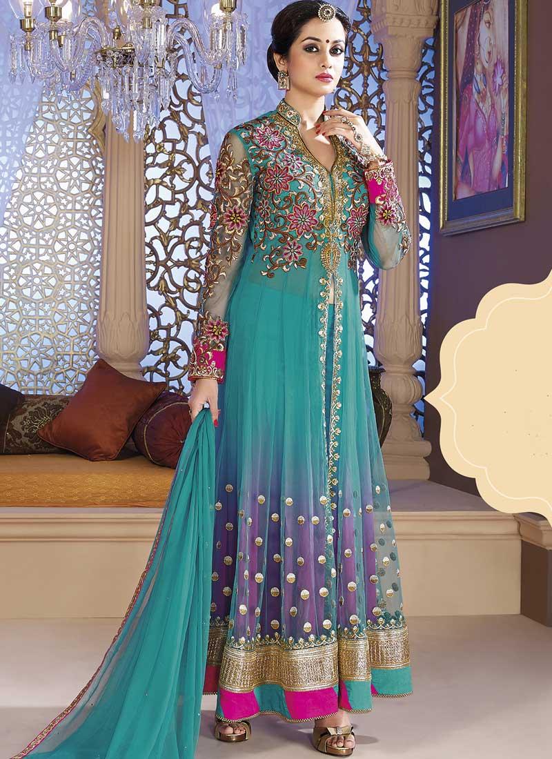 Sky Blue Magenta Embroidery Work Net Long Wedding Designer Anarkali ...