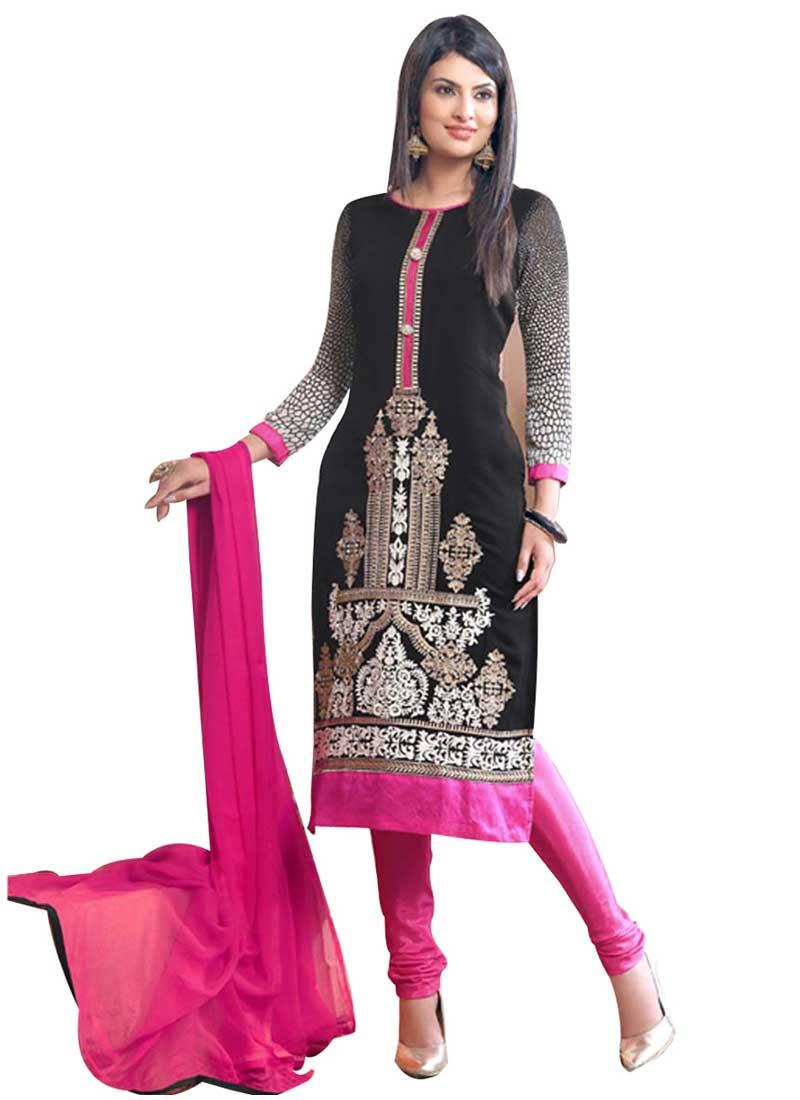 7de8f1a20b Black Embroidery Resham Work Lace Border Designer Casual Churidar Salwar  Kameez
