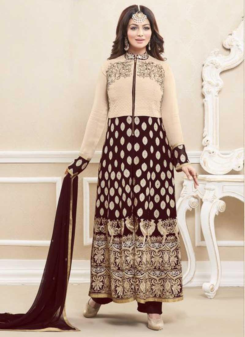 b01c48e87c Ayesha Takia Chocolate Embroidery Work Georgette Bollywood Salwar Suits