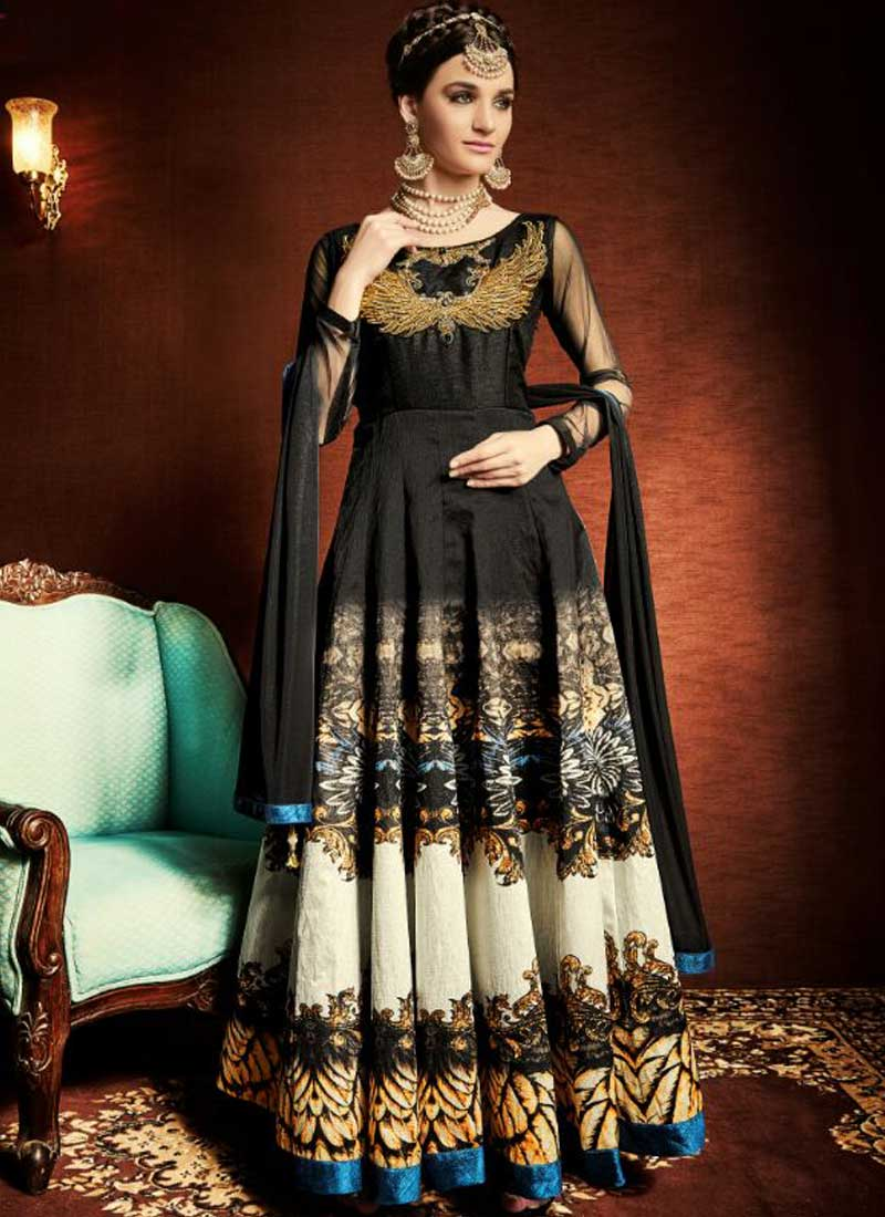 Black Embroidery Work Satin Tapeta Silk Printed Designer Long ...