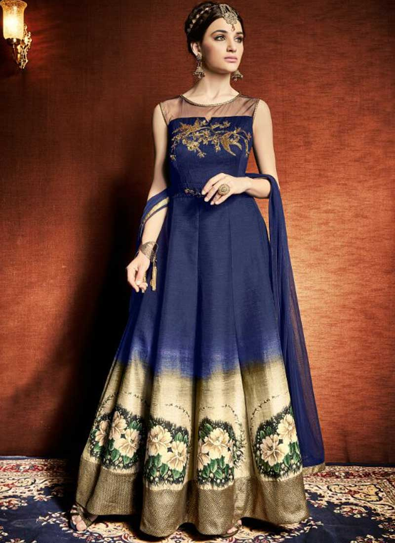 46e1476345 Navy Blue Embroidery Work Satin Tapeta Silk Print Designer Long Anarkali  Suit