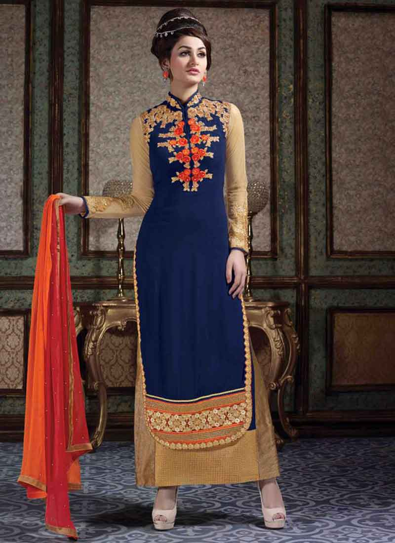 d0d42549ad Dazzling Blue Embroidery Work Georgette Long Churidar Suit.Long ...