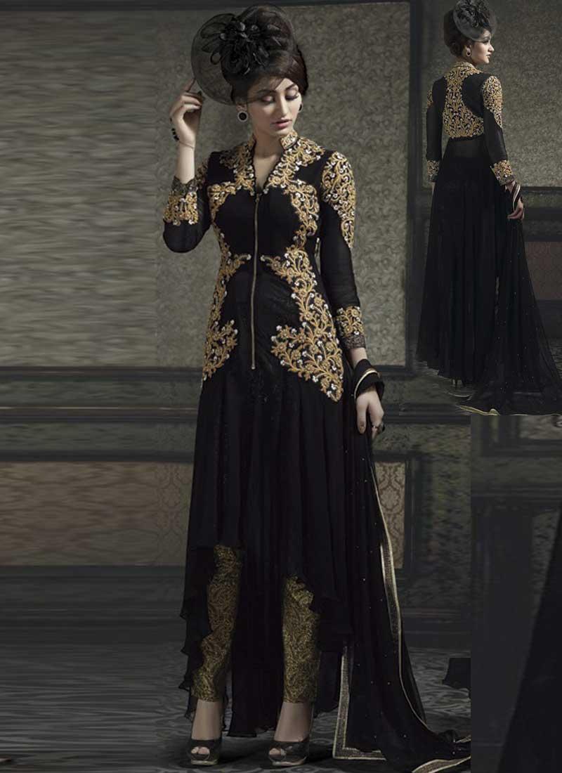 5b53b392f6 Blooming Black Banarasi georgette Embroidery work Party wear anarkali  salwar suit