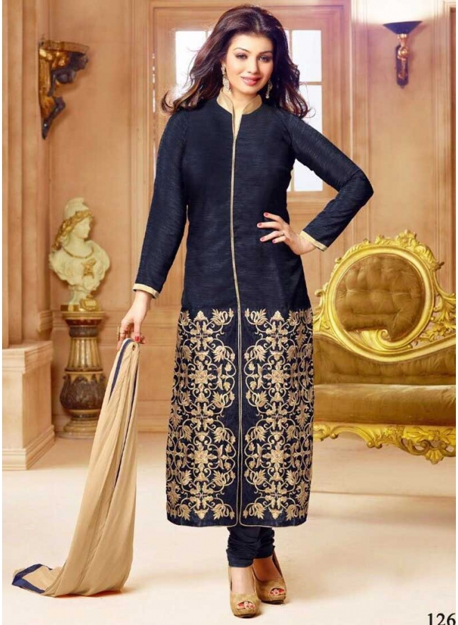Ayesha Takiya Navy Blue Embroidery Work Churidar Salwar Suit