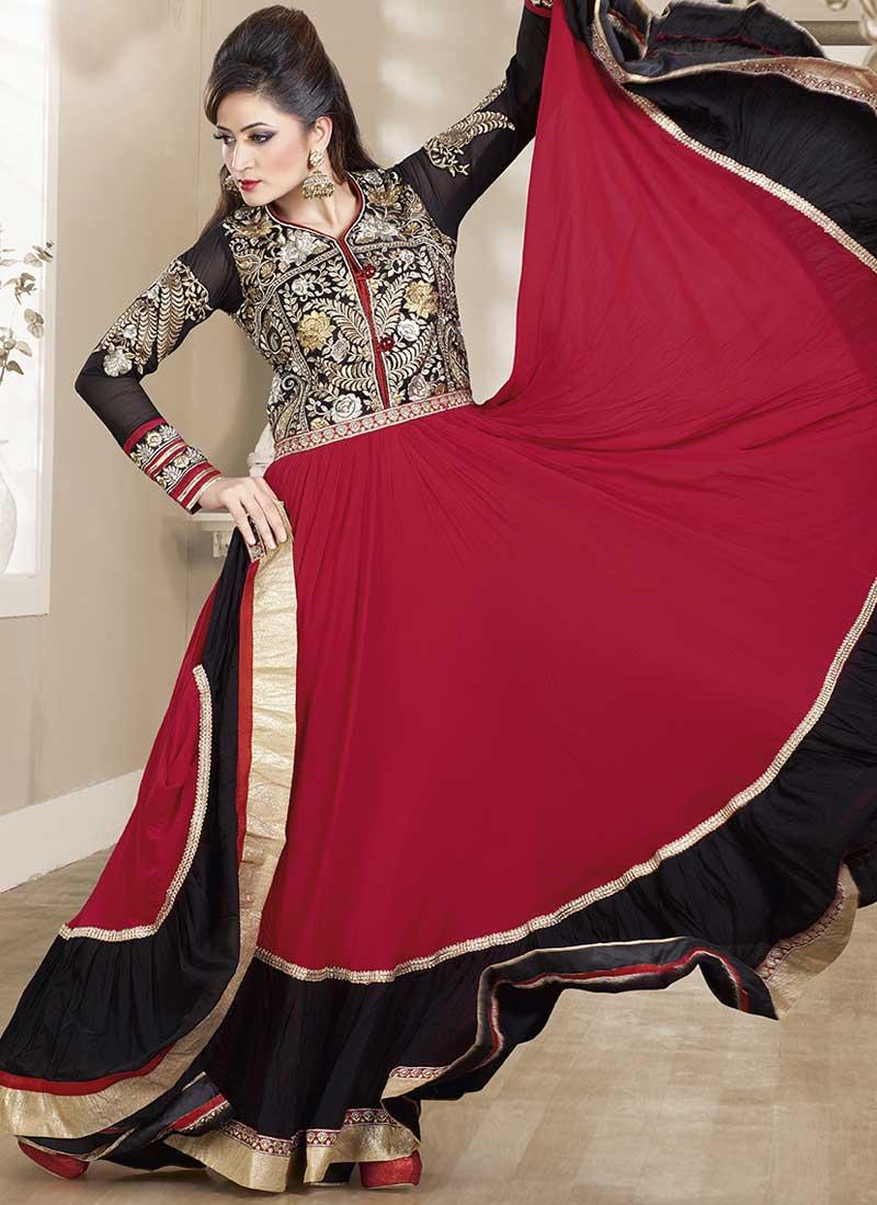 15174107b7 Black Red Embroidery Work Georgette Designer Long Anarkali Gown Suit ...