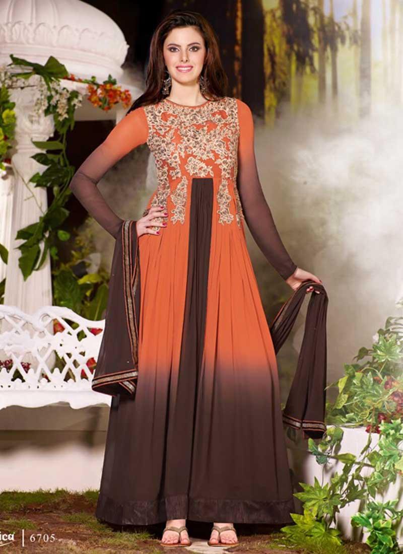 c0bdd5ee45 Classy Orange And Black Shaded Poly Georgette AnarkalI Suit. Online ...