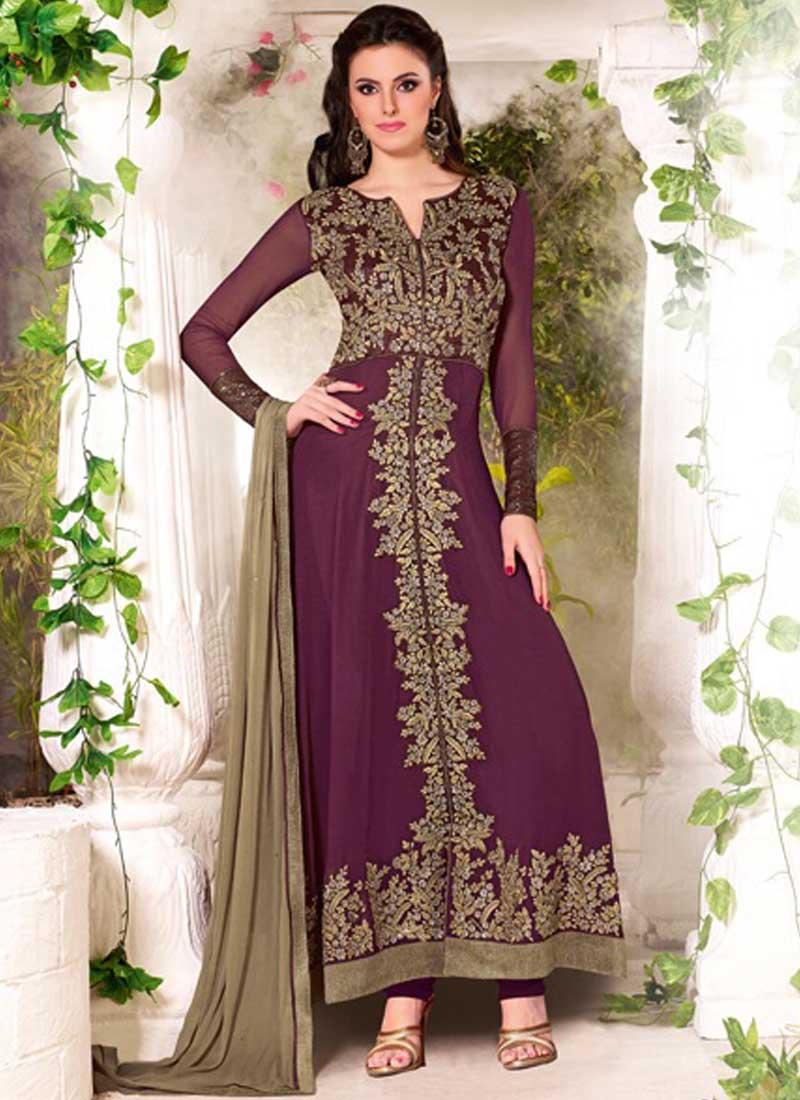 112b5a28a8 Glitzy Wine Poly Georgette With Work Poly Georgette Salwar Suit ...