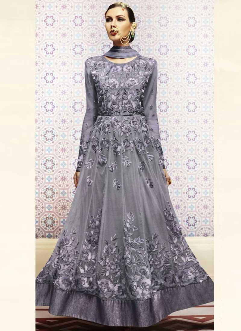 ac7ebf77b4 Blue Grey Embroidery Resham Work Net Chiffon Designer Long Anarkali Gown  Suit