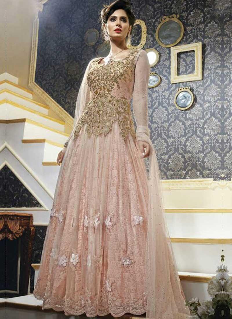 Bruna Abdullah Peach Embroidery Cut Work Net Wedding Long Anarkali ...