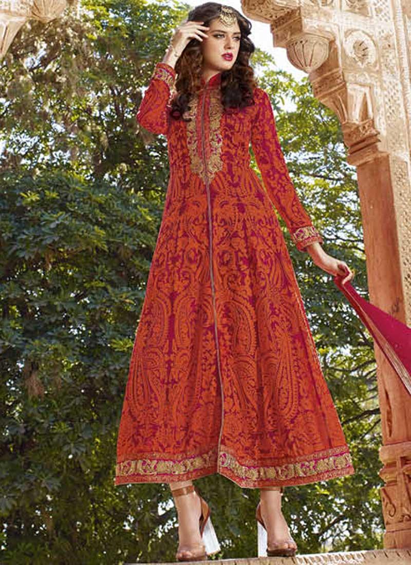 11a2c6d3c3 Pink Embroidery Resham Work Georgette Crepe Designer Wedding Anarkali Suit