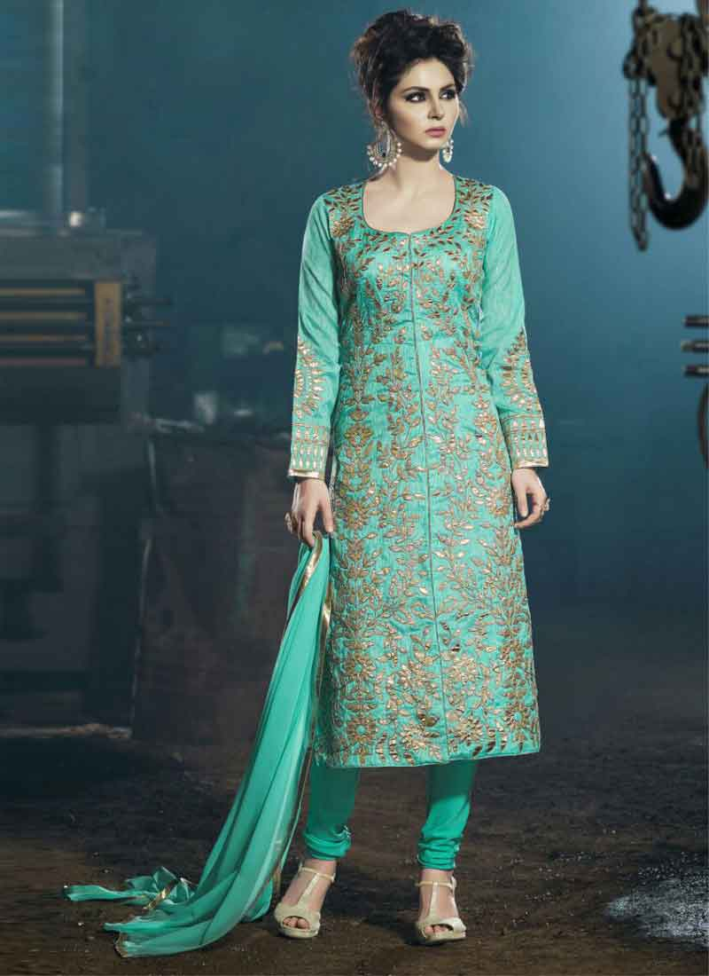 Stunning Sea Green Embroidered Pita Work Raw Silk Party Wear ...