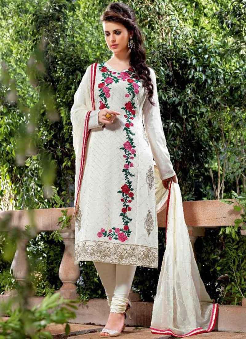 2ec227bf89ab Off White Embroidery Work Georgette Viscose Santoon Designer Churidar Suit