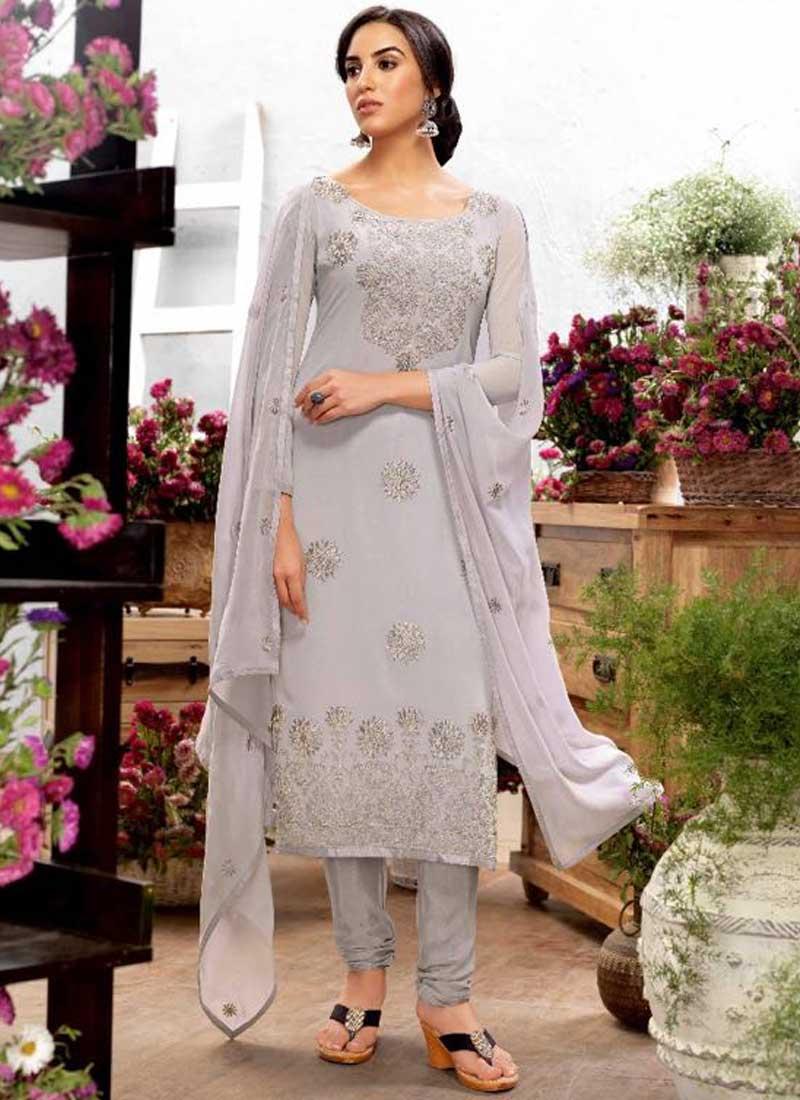 0894b03731 Grey Embroidery Work Georgette Silk Designer Party Wear Churidar Suit