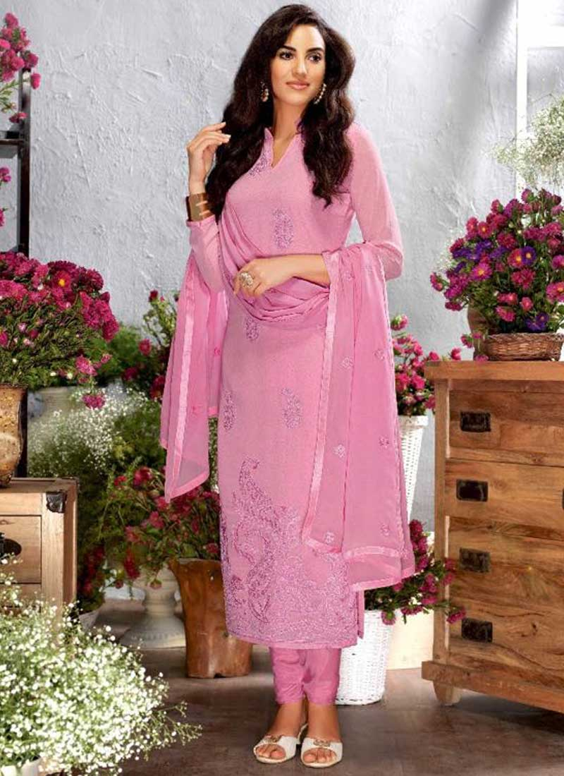 2fa8c87d9f Hot Pink Embroidery Work Georgette Silk Designer Party Wear Churidar Suit