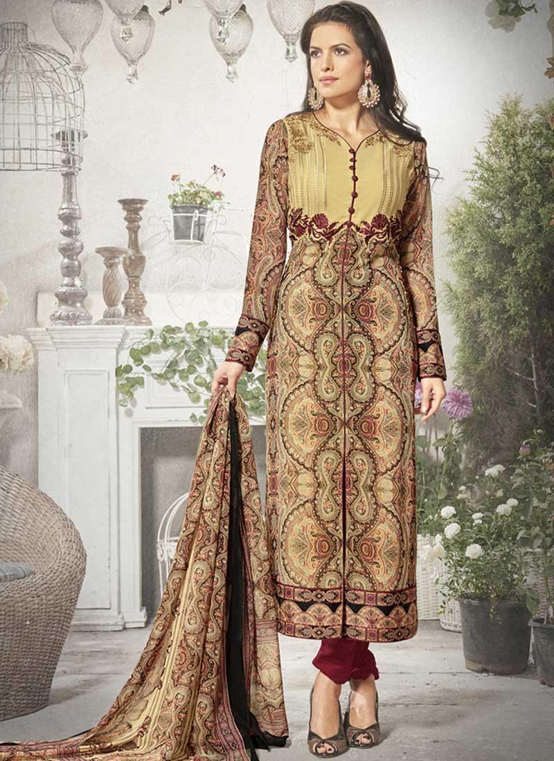 38a5a20ea Cream Maroon Embroidery Work Georgette Silk Designer Fancy Churidar Printed  Suit