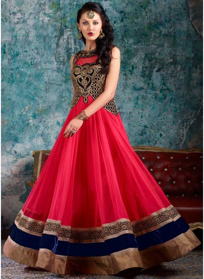 93e91498f8 Pink Embroidery Zari Work Net Indo Western Long Anarkali Gown Designer Suit