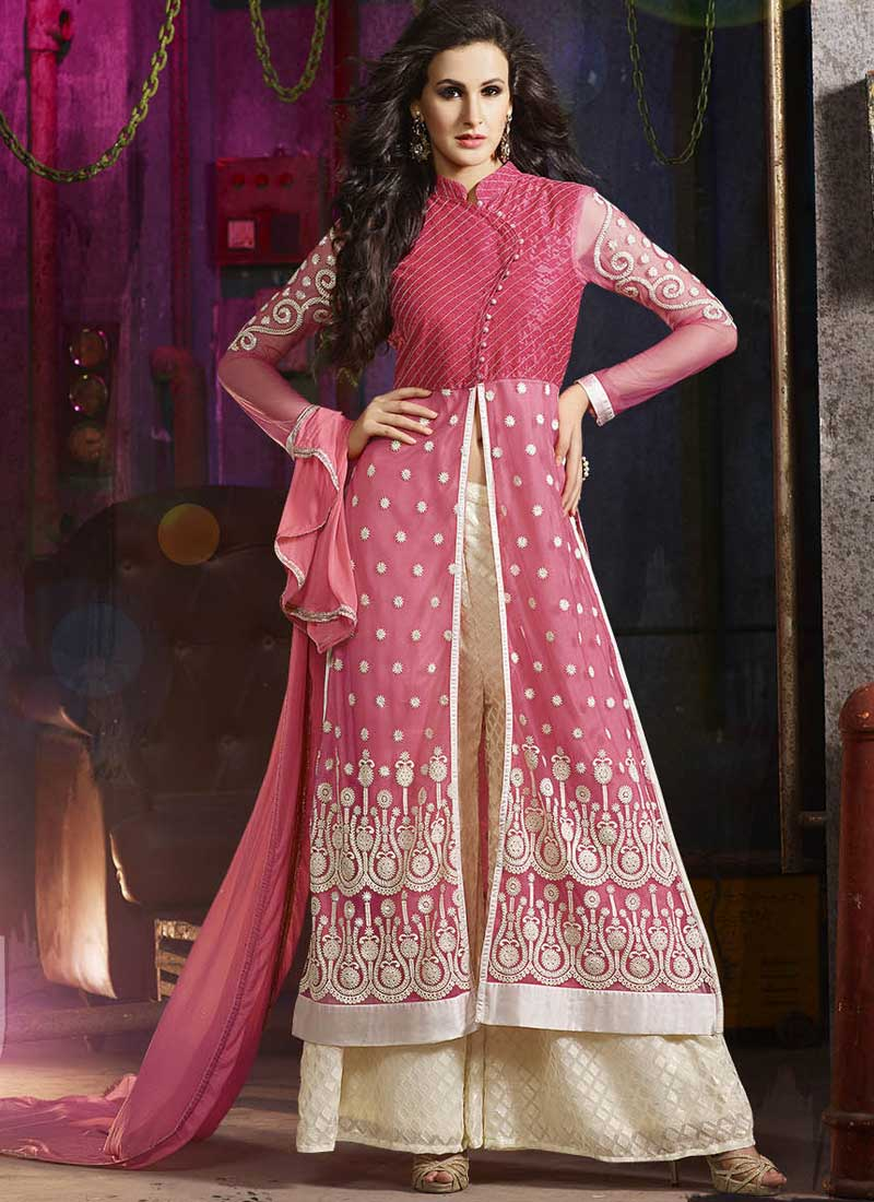 f96c1368a3 Pink Beige Embroidery Work Net Brasso Georgette Designer Palazzo Pakistani  Suit