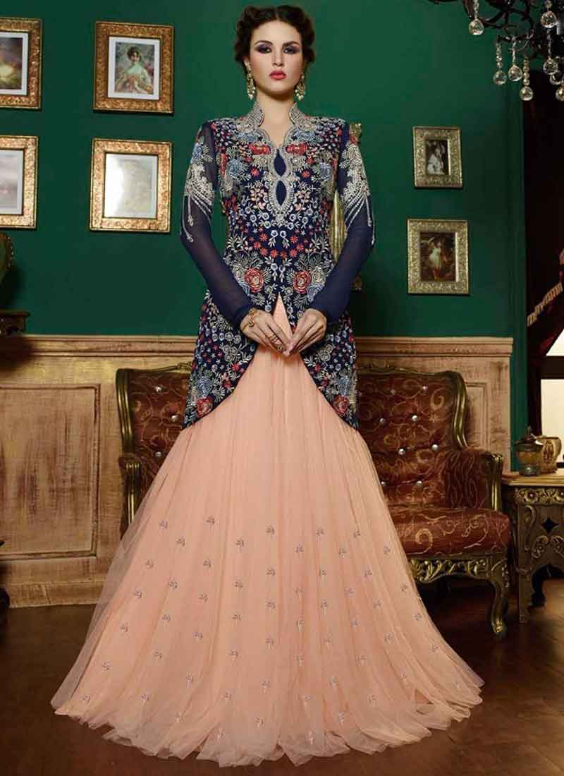 Precious Peach Navy Blue Embroidery Work Georgette Net Wedding ...