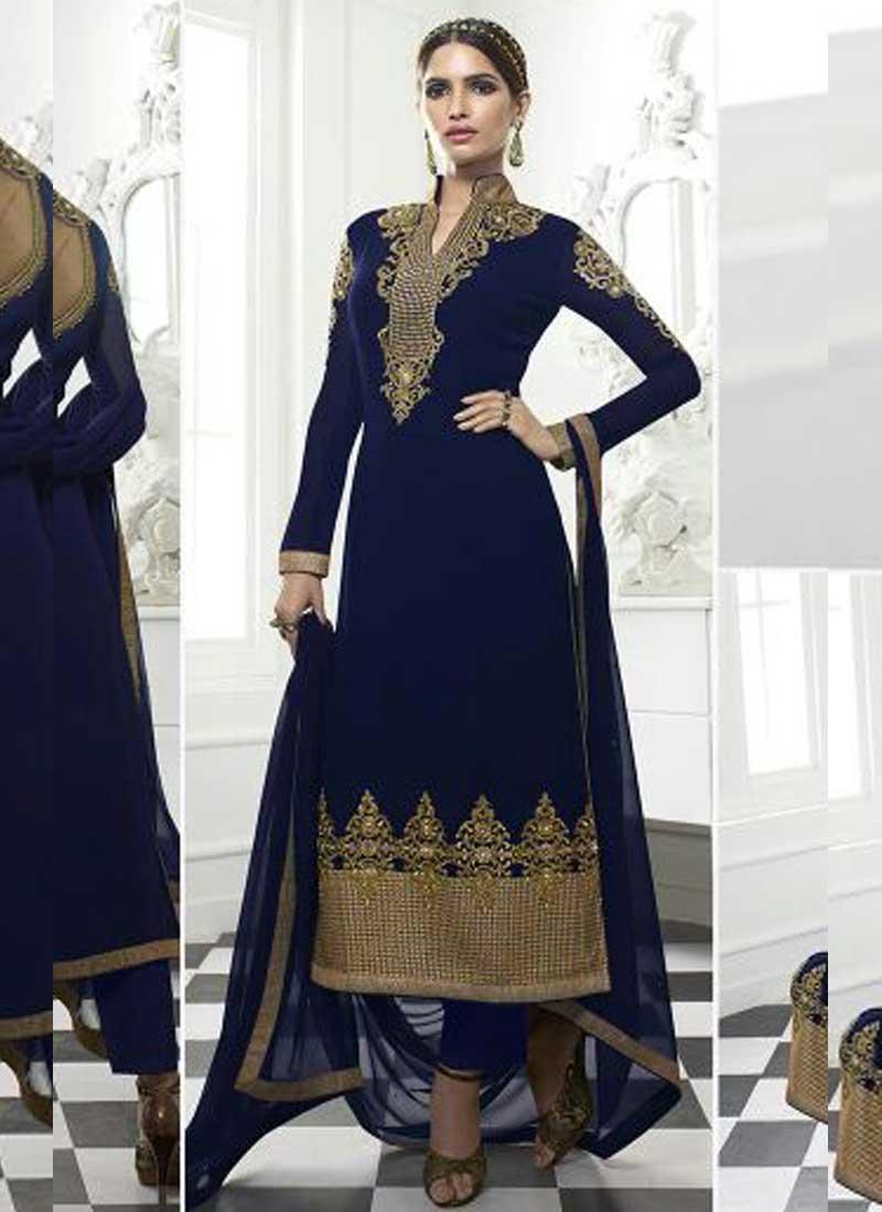 830afa3e38 Navy Blue Embroidery Resham Work Stone Work Santton Party Wear Pakistani Salwar  Suit