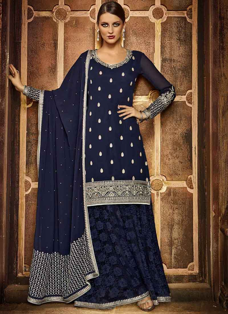 12b94aa044 Navy Blue Embroidery Booti Work Georgette Fancy Designer Pakistani Palazzo  Suit