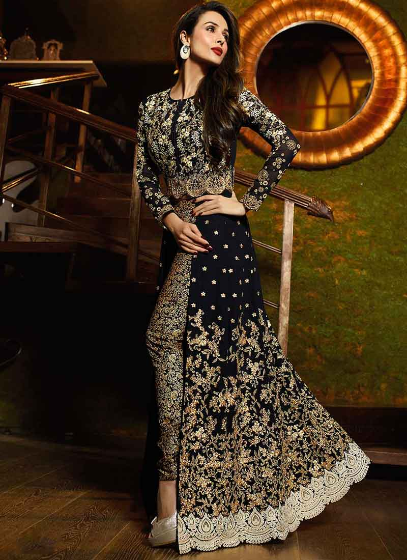 6024a9fd2b Malaika Arora Khan Black Embroidery Work Georgette Anarkali Bollywood Suit