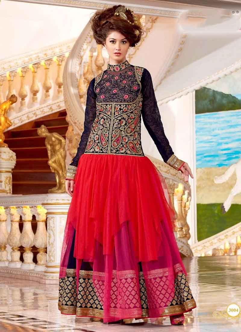 1b7abf0562 Unique Red And Blue Shaded Designer Net Georgette Salwar Suit ...