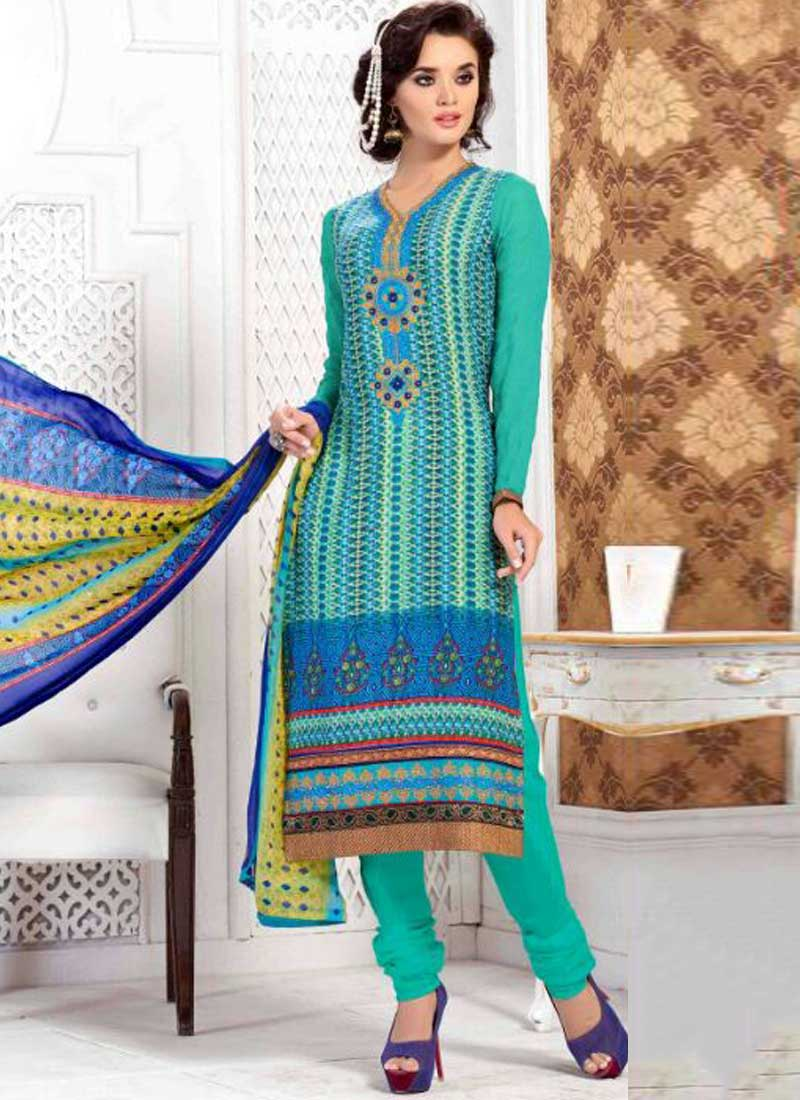 22d56527c3 Buy Turquoise Embroidery Work French Crepe Designer Printed Churidar Suit