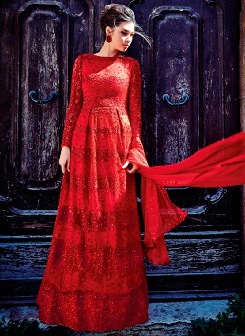 Red Thread Work Sequin Work Stone Work Net Long Bridal Anarkali Suit ...