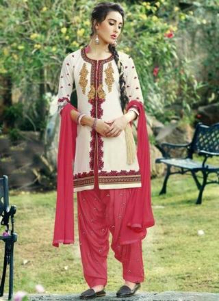abfba96b94 Off White Pink Embroidery Work Cotton Santoon Designer Patiala Suit