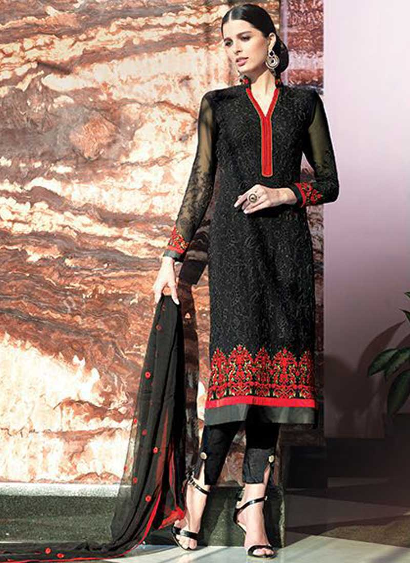 1e0d1a2fc3 Black Georgette Embroidery Work Designer Pakistani Palazzo Suits ...