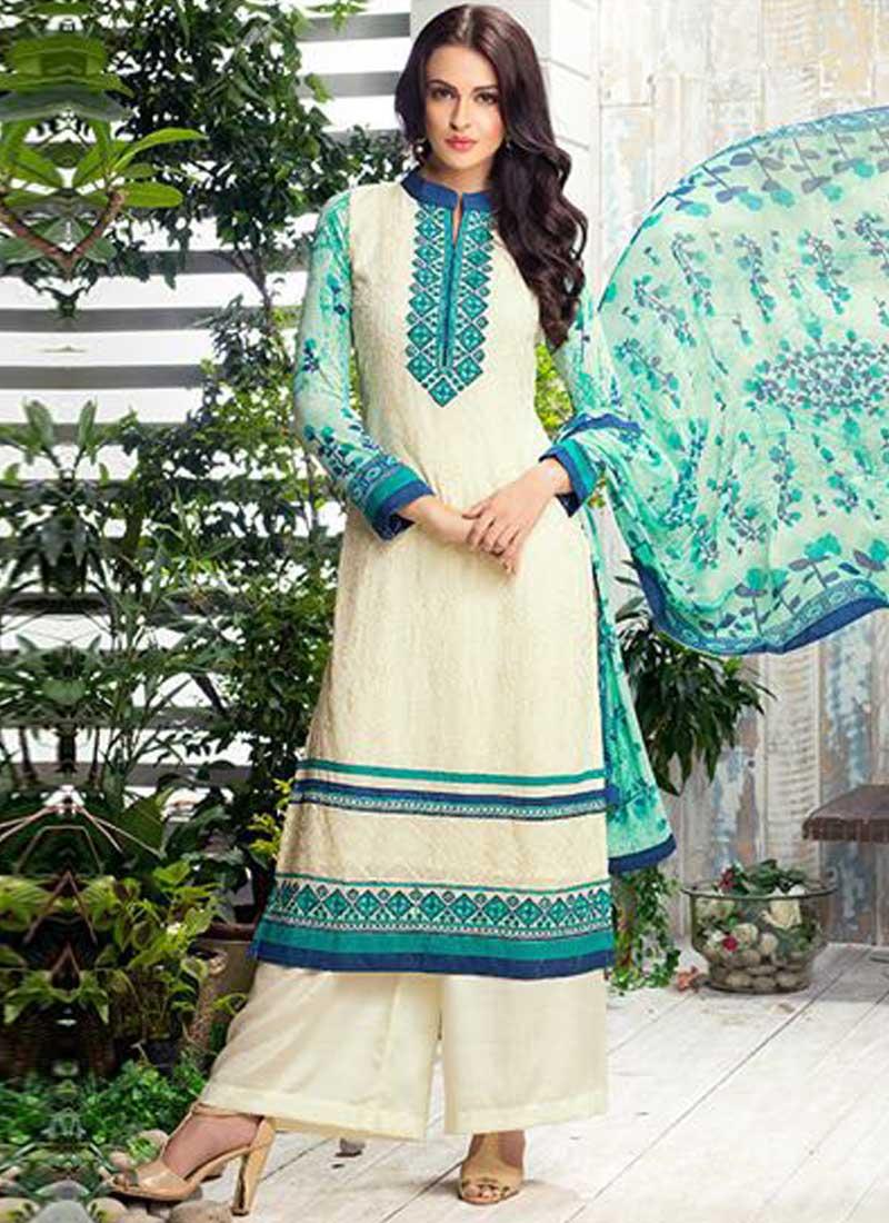 Beige Embroidery Work Georgette Designer Party Wear Print Pakistani ...