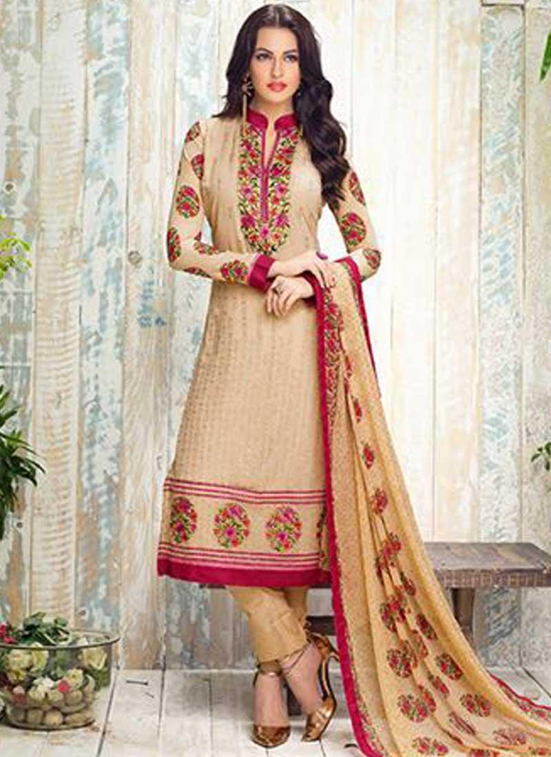 455f098467 Cream Embroidery Work Georgette Designer Print Party Wear Pakistani Suit
