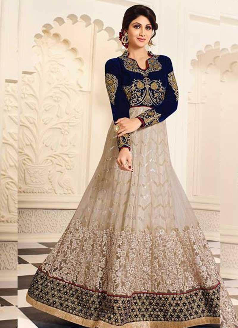 Shilpa Shetty Blue Beige Embroidery Work Silk Net Long Bollywood ...
