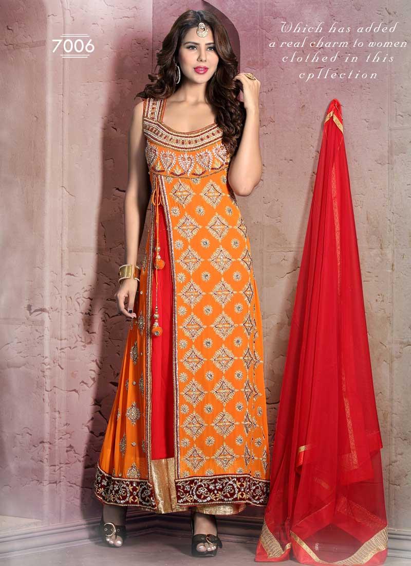 d5881b080b Mystic Orange Georgette Cutdana With Embroidery Stone Hand Work Salwar Suit
