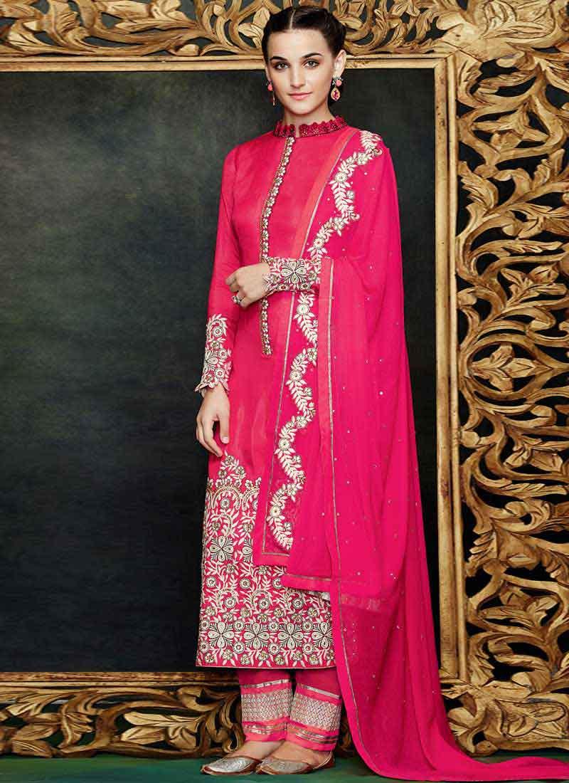 a108b3a898 Magenta Georgette Resham Work Design Pakistani Suit. Online Buy ...