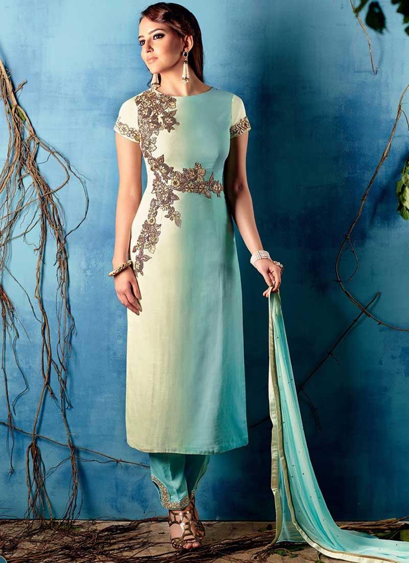d784648d3a40dd Aspiring Sky Blue And White Pure Cotton Satin Pakistani Suit. Online ...